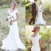 Wholesale White Lace Modest Wedding Dresses - 2017 Elegant Country Lace Wedding Dresses Mermaid V Neck Cap Sleeve Modest Wedding Bridal Gowns Boho Beach Covered Button Cheap