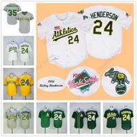 b49fcd03e ... Rickey Henderson Jersey 24 35 Oakland Athletics Jerseys Flexbase Cool  Base Throwback Vintage White Green Yellow ...