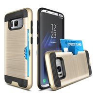 Wholesale Hard Plastic Credit Card Case - For Samsung S8 Note8 Brushed Armor Hybrid Shockproof Case PC Hard Credit Card Slot Holder For Galaxy S7 edge S8 plus