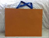 pacote de presente de saco de papel venda por atacado-Venda Por Atacado novo empacotamento de papel saco de presente de compras cor laranja 43 centímetros