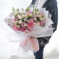 Wholesale Wholesale Korean Packaging - Mesh Lace Korean Wrapping Paper Gauze Flower Gift Packaging Supplies Plain Color Florist Bouquet Floral Decoration 10yard