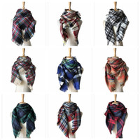Wholesale Winter Muffler Kids - Kids Plaid Scarves Baby Striped Tassels Scarf Tartan Scarf Wraps Fashion Neckerchief Winter Shawl Ring Muffler Blankets 50 PCS YYA572