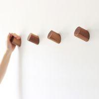 Wholesale Wood Wall Decor Wholesale - Pinjeas Wood Hanger 6 .5cm 2pc Length Modern Coat Holder Housekeeper Hat Hanger Wall Hookround Cylinder Home Garden Decor Hangers
