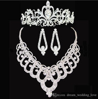 Wholesale Tiaras Cheap Price - new Bridal crowns Accessories Tiaras Hair Necklace Earrings Accessories Wedding Jewelry Sets cheap price fashion style bride