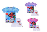 Wholesale Tshirt Lace Girl - MOANA Baby Girl Clothes Summer Casual Sets Children's Cotton T-shirt+Dress Tshirt +short Pants 2 PCS Suits Birthday Kids Clothing