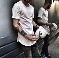 Wholesale Mens Plain Tee Shirts - Mens fashion Clothing designer trends Clothes Hip Hop T shirt homme Curved hem Tee plain Extended T shirt Kpop