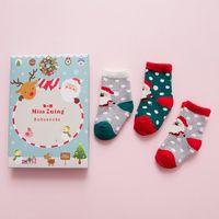Wholesale Kids Designer Socks - DHL 3 Pairs Kids Christmas Designer Fashion Dress Socks Unisex Kids Baby Boy Girl Terry Warm Christmas Socks