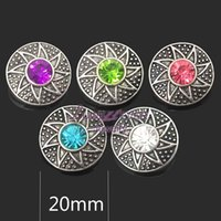 Wholesale Metal Flower Necklace Wholesale - High quality flowers 023 18mm 20mm rhinestone metal button for snap button Bracelet Necklace Jewelry For Women Silver jewelry