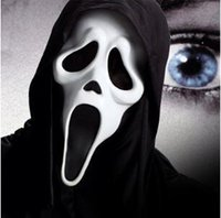 Wholesale Witch Face - 5 Styles Halloween Costume Party Mask Scary Vampire Witch Ghost Face Scream Mask with Hood Costume Masquerade Skull Mask CCA7259 300pcs