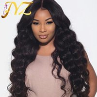 Wholesale big body lace wig online - Big Body Wave Pre Plucked Human Hair Lace Wigs Density Human Hair Full Lace Wigs With Baby Hair Lace Front Wigs For Black Woman