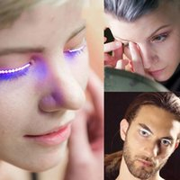 Wholesale Eyelid Strips - LED Eyelashes Lashes LED Eyelidtape Electronic Eyelid False Eyelashes Halloween Pub Club Bar Party Players 50pcs OOA2179