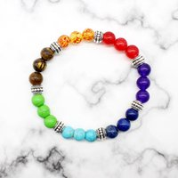 Wholesale Chakra Balls - Wholesale- 2017 New ethnic Hollow 7 Chakra Bracelet Bangle Colors Mixed Healing Crystals ball Stone bead Pray Mala charm Bracelet Jewelry