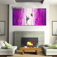 peintures d'art abstrait violet achat en gros de-Peinture abstraite moderne pourpre d'images de paysage 100% peint à la main paysage peinture à l'huile sur toile maison mur décorations