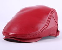 Wholesale red berets - New leather hat male Autumn and Winter sheepskin cap pure color winter warm hats caps for men