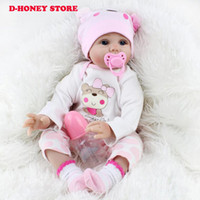 55CM SOFT Silicone Reborn Baby Dolls Handmade Cloth Body Reborn Bebês Doll Toys Play House Baby Growth Partners Brinquedos