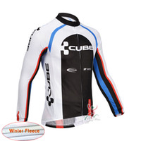 Wholesale Cube Long Sleeve Cycling Top - CUBE Tour de france cycling jersey Men winter Thermal Fleece bike jacket Cycling Clothing Sportswear long sleeve maillot ropa ciclismo B2504