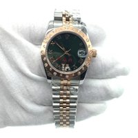 Wholesale Mechanical Watch For Girl - 31mm Date Lady Watch Women Size Diamond Rose Gold Case Green Dial Automatic Mechanical Sweep Movement Stainless Steel Gift For Girl