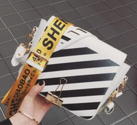 Wholesale Lady Super Hot - hot sell design off white bags women handbag super chic blogger love lady shoulder bags easy matching stripe girls bags