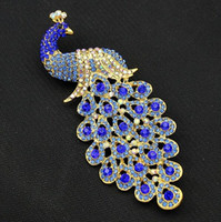 Full Rhinestone Sapphire Blue Crystal Peacock Broches Oco Peacock Animal Brooch Pins Breastpins Mulheres Wedding Party Costue Jóias Gift