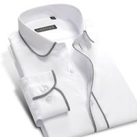 Wholesale Boys Dress Shirt M - Wholesale- Fashion White Boys Men Long Sleeve Dress Shirt 100% Cotton Famous Brand Male Formal Business Slim Fit Casual Shirts Plus 4XL