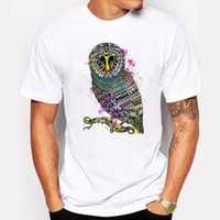 Camping Escursionismo T-Shirt da uomo t shirt estate Colorful Owl Cartoon anime uomo T-shirt hip hop fitness bianco Manica corta tshirt homme Tees