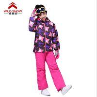 Wholesale Kids Thermal Pants - Wholesale- High Quality Children's Ski Suit Ski Jacket + Ski Pant Girls Snowboard Set Kids Winter Outdoor Thermal Clothing Set for Girls
