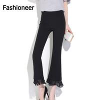 Wholesale Lace Slimming Pants For Women - Fashioneer Wind Leg Pants For Women Lace Chiffon Slim High Waist Capris Office Casual High Waist Dance Trousers Pencil Pants