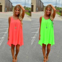 Wholesale Pencil Flare - Women Girl Beach Fluorescence Summer Dress Hollow Back Chiffon Women Dress Plus Size Neon Colors Clothing