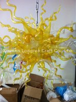 Wholesale Contemporary Lightings - Discount Lights and Lightings Chandelier Modern LED Light Source Dale Chihuly Style Golden Yellow Hand Blown Murano Glass Chandelier