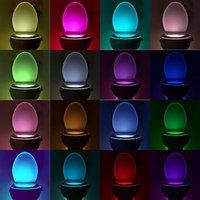 Wholesale Plastic Toy Toilets - 8 Colors Human Motion Sensor Toilet Light Bathroom Night Light