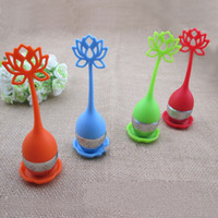 Wholesale Silica Gel Candy - New silicon Lotus Silica gel Tea bag candy Strainers Teas Stainless Steel Strainer Filter With Green Silicone High Quality 3jj