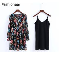 Wholesale Long Sleeve Mesh Peplum - Fashioneer Two Pieces Women floral embroidery mesh maxi dress transparent sexy dress tie neck long sleeve Vestidos casual loose dresses