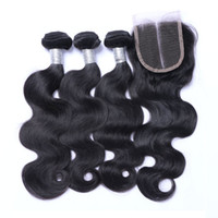 Wholesale brazillian hair natural top closure for sale - Group buy Brazilian Peruvian Malaysian Indian Virgin Remy Human Hair Weaves Bundles with Top Lace Closures Mink Brazillian Body Wave Hair Extensions
