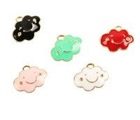 Wholesale enameled jewelry for sale - Group buy 40PCS Enameled cloud charm pendant x14mm jewelry findings