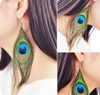 Wholesale peacock feather accessories wedding for sale - Group buy Womens Peacock Feather Pierced Stud Earrings DHL Real Feather Hot Selling Ears Fashion Earing Accessories Party Jewelry Christmas Gift