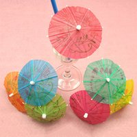 Vente en gros- 144PCS / 1Pack Cocktail Toothpicks décoratifs Parapluie Bambou Stick Form Snack Cakes Fruit Sign 10 Cm Long