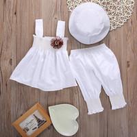 Wholesale Dress Hat Baby Girls Set - Newborn Baby Girls Princess Dress Tops Pants Hat 3pcs Kids Outfits Sets Baby Girls Clothes Set Girls Clothing Set 0 24M