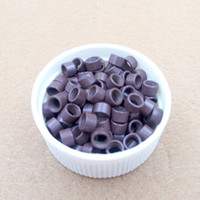 Wholesale Aluminium Beads - Wholesale-1000pcs 4.5 mm Hair Extension aluminium Microringe Micro links Beads Links with Screws threaded 5# brown color