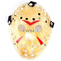 Wholesale hockey masks - Gold Vintage Jason Voorhees Freddy Hockey Festival Halloween Masquerade Party Mask Funny Prop Horror Masks Christmas Cosplay Party