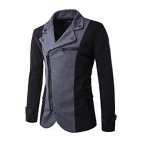Wholesale Grey Zip Jacket - Hot New Fashion Men's Blazer Slim Fit Casual Blazer Suit Top Zip Jacket Black  Grey M-XXL Men's Clothing Free Shipping