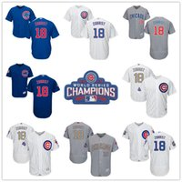 Wholesale Sports Jersey Patches - 2016 World Series Champions Patch #18 Ben Zobrist Chicago Cubs White Blue Grey Gold Flex base Baseball Sports Jerseys Hot Sale