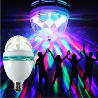 Wholesale E27 Colorful Rotating - Auto Rotating RGB LED Bulb E27 3w Led Stage Lighting AC85-265V DJ Stage Light Bulbs Colorful Disco Christmas Magic Lamp for Holiday Party