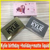 Wholesale Dhl Lipstick - Kylie Jenner brithday lip gloss & KYLIE holiday lip golss &Matte and velvet Liquid Lipstick Valentines DHL free shipping