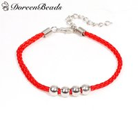 Atacado- DoreenBeads 1 PC Poliéster Kabbalah Red String Braided Bracelets de amizade para o homem Woman dull silver color Round Beads 18.5cm