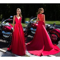 Wholesale China Custom Made Lace Dress - Red V-Neck China Prom Dresses 2017 Long Satin Evening Gowns For Women A-Line Floor Length Special Occasion Party Dress