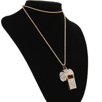 Wholesale Rhinestone Whistle - Gold Rhinestone Crystal Sweater Chain Pendant Necklace, Fashion Accessories Women Whistle Long Necklaces All-match Free Shipping