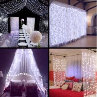 Wholesale Outdoor Solar Icicle Lights - led string 300 LED Icicle 2x2m 3x3m 6x3m String Lights Christmas xmas Fairy Lights Outdoor Home For Wedding Party Curtain Garden Decoration