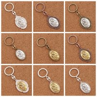 Wholesale Baby Jesus - 12pcs lot Our Lady of Guadalupe And Baby Jesus Icon 2inch Medal Mater Ecclesiab Key Ring Travel Protection Key Chain K1745 12colors