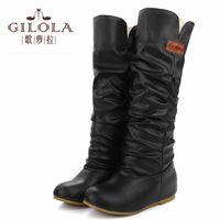 Wholesale Ladies Half Slips - Wholesale-new keep warm fur autumn winter knee high boots women snow flats ladies women boots women's shoes woman black #Y1027399F