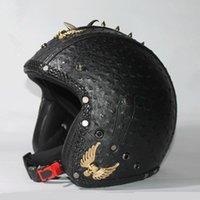 cascos de orden al por mayor-2016 Handcrafted para hombre mujeres Harley moto cascos de moto de la vendimia casco de moto scooter de cuero genuino aceptar orden privada DOT